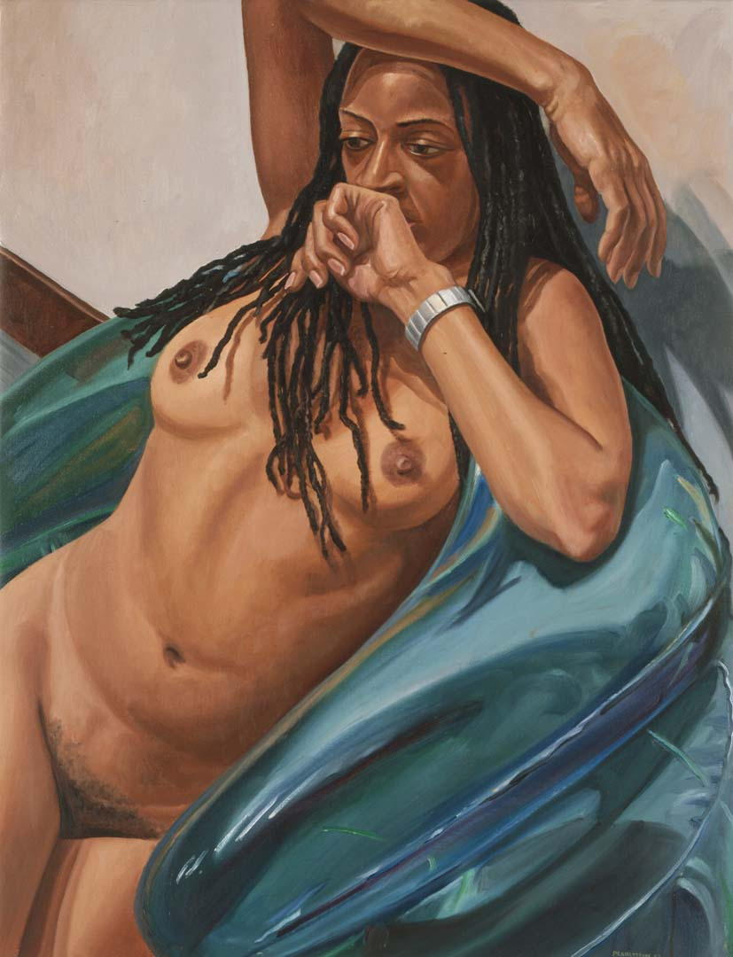 2003 Model with Dreadlocks on Blue Blow-up Chair Oil on Canvas 29 x 38