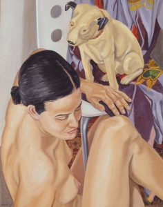 2003 Model with His Master's Voice Dog Oil on Canvas 34.625 x 26.625