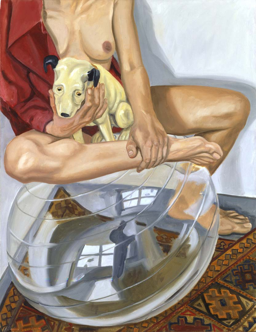 2003 Model with His Master's Voice Dog and Exercise Ball Oil on Canvas 34.625 x 26.625
