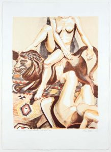 2003 Two Nudes with Wooden Lion Aquatint Etching on Paper 23.1875 x 16.5