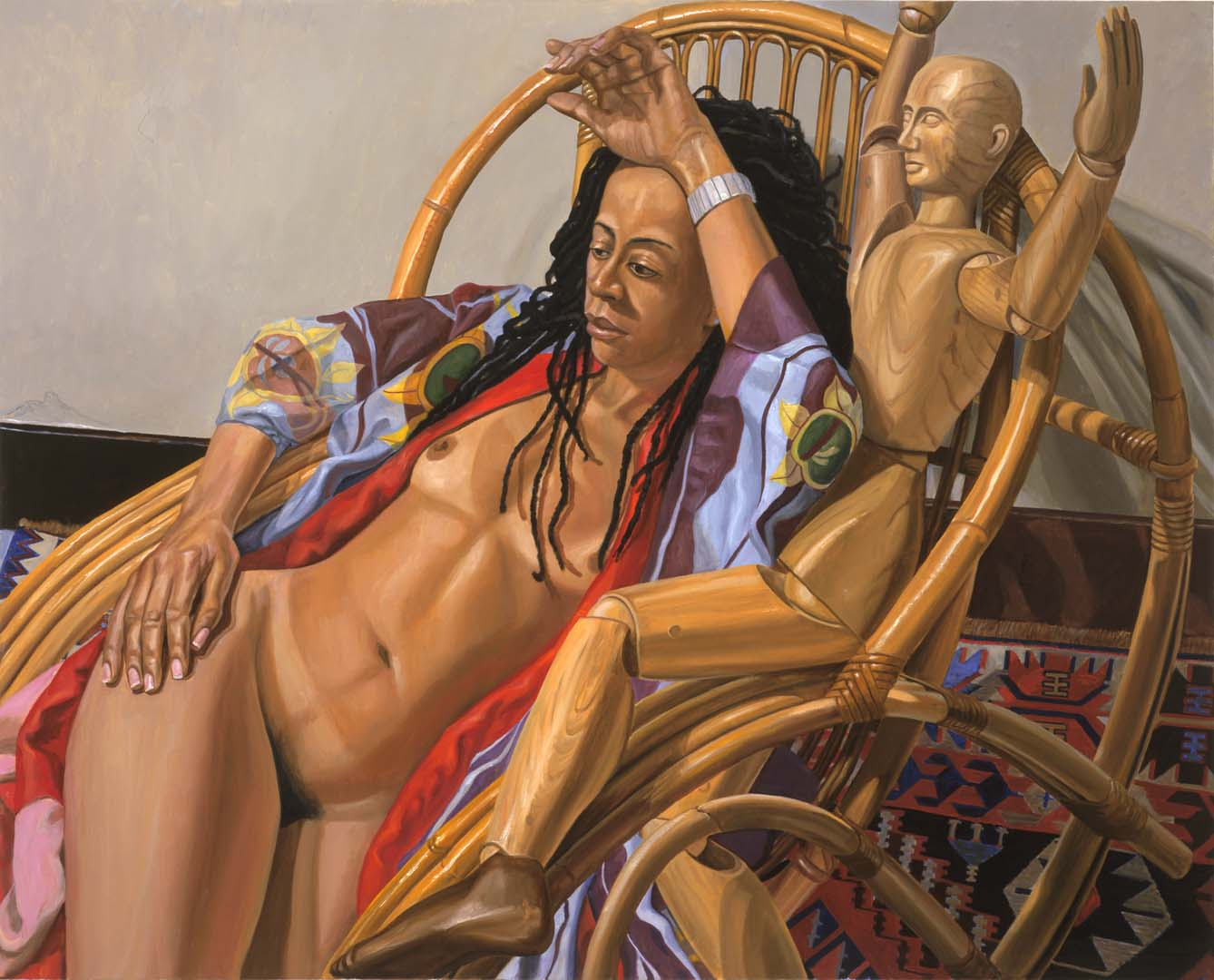 2005 Model on Bamboo Lounge with Artist Mannequin Oil on Canvas 48 x 60
