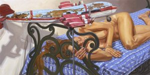 2005 Model on Cast Iron Bed with Weathervane Airplane #1 Oil on Canvas 36 x 72