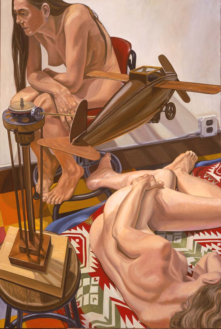 2005 Models with a Wooden Airplane Oil on Canvas 72 x 48