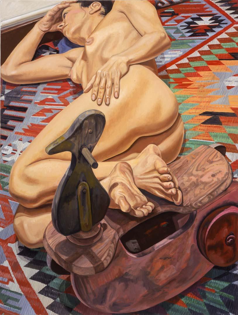2005 Model with Duck Kiddy Car on Killim Rug Oil on Canvas 48 x 36