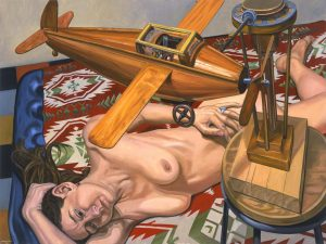 2005 Model with Wooden Airplane Oil on Canvas 36 x 48