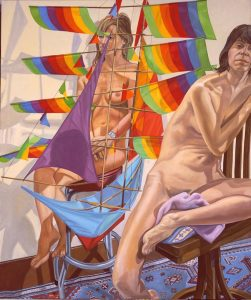 2005 Two Models with Chinese Kite Oil on Canvas 72 x 60