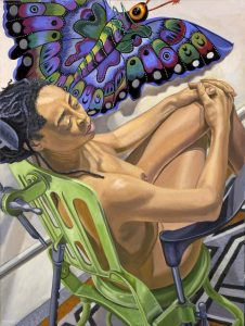 2006 Model with Butterfly Kite Oil on Canvas 48 x 36