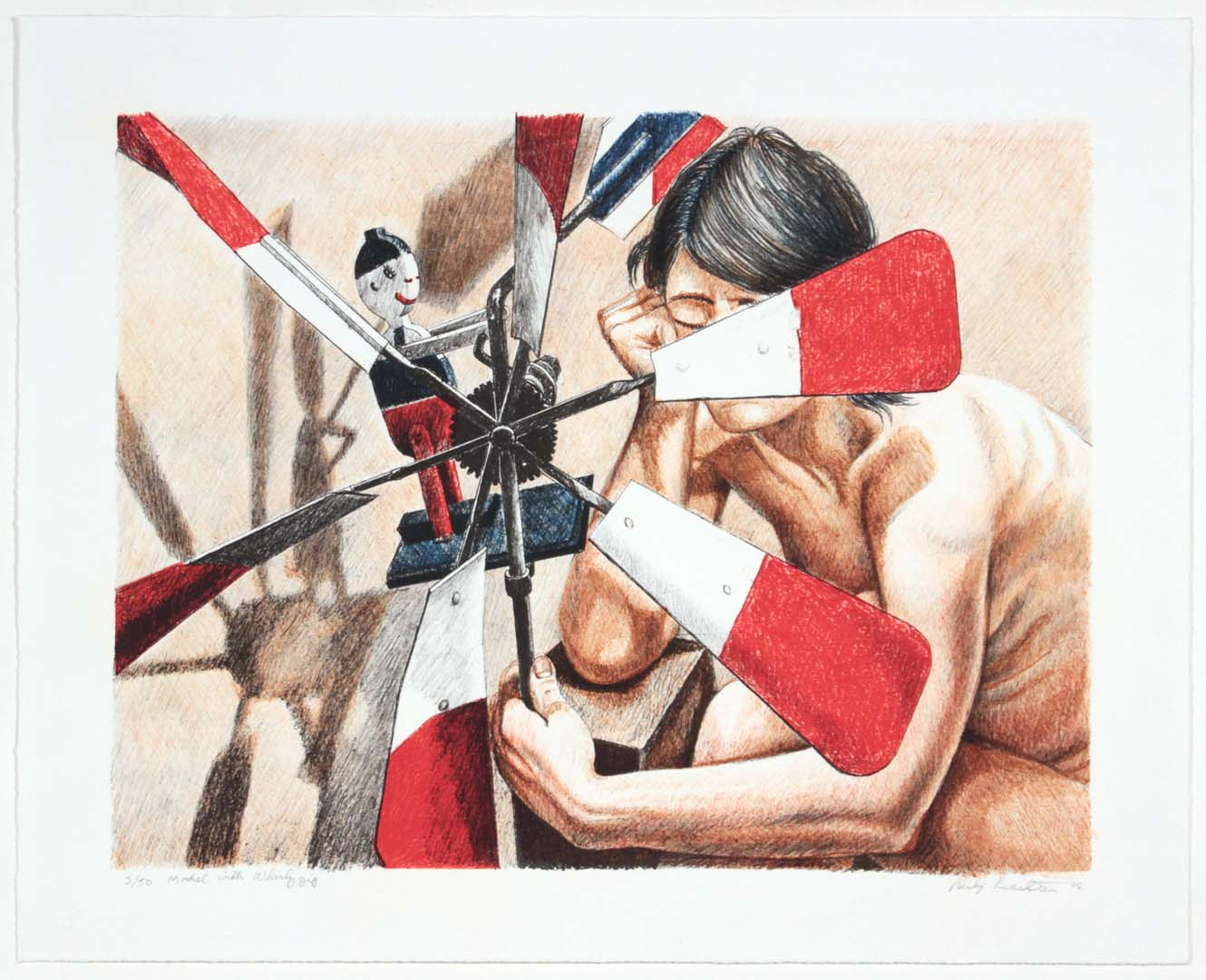 2006 Model with Whirlygig Lithograph on Paper 19.5 x 23.25