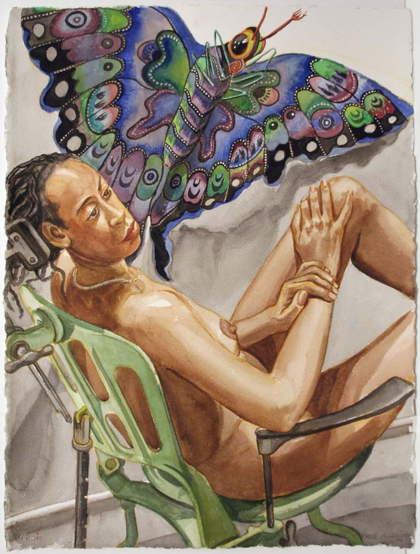 2006 Study for Model with Butterfly Kite Watercolor on Paper 30 x 22.5