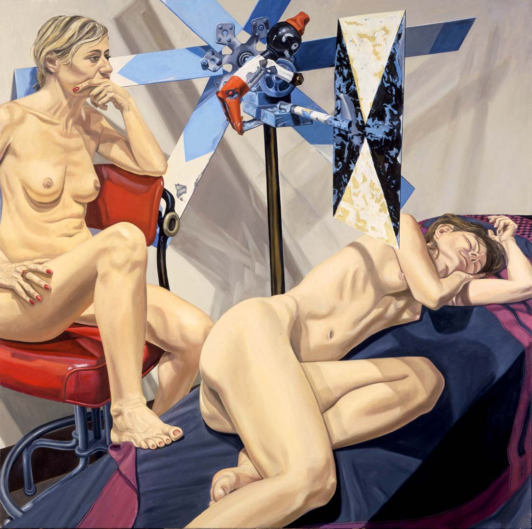 2006 Two Models with Large Whirlygig Oil on Canvas 72 x 72