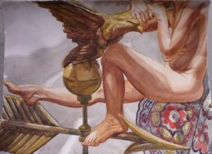 2007 Model with Golden Eagle Weathervane Watercolor on Paper 30.125 x 22.75