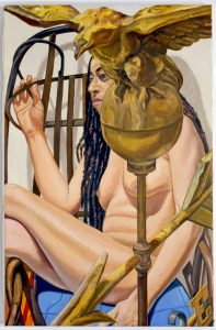 2009 Model With American Eagle Weathervane Oil on Canvas 34 x 22