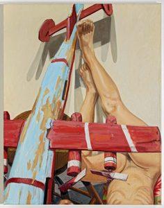 2009 Model With Whirlygig Warplane Oil on Canvas 28 x 22