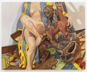 2009 Model in Japanese Robe with African Carvings Oil on Canvas 48 x 60
