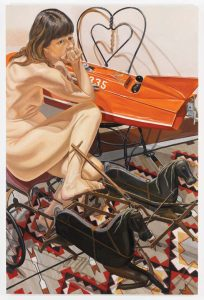 2010 Model with Speedboat and Kiddie Car Harness Racer Oil on Canvas 72 x 48
