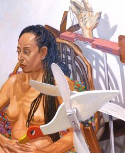 2010 Model with Two Whirlygigs Oil on Canvas 44 x 36