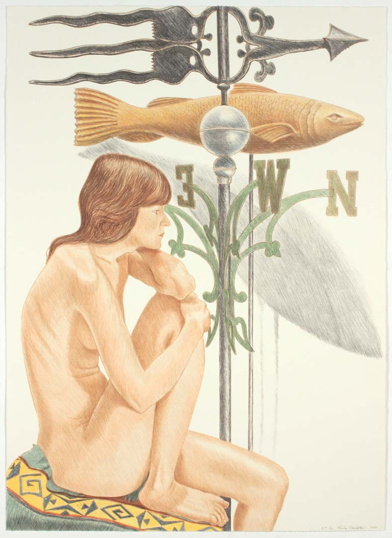 2010 Nude Model with Banner & Fish Weathervanes Lithograph on Paper 34.25 x 25