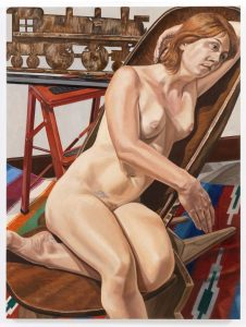 2010 Model with Choo-Choo Weathervane and African Chair Oil on Canvas 48 x 36