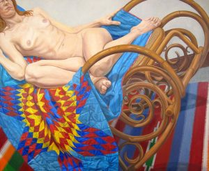 2012 Model on Bentwood Rocker and Americana Quilt Oil on Canvas 48 x 60