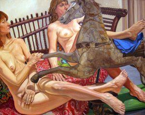 2013 Models on Folk Art Sofa with Hobby Horse Oil on Canvas 48 x 60