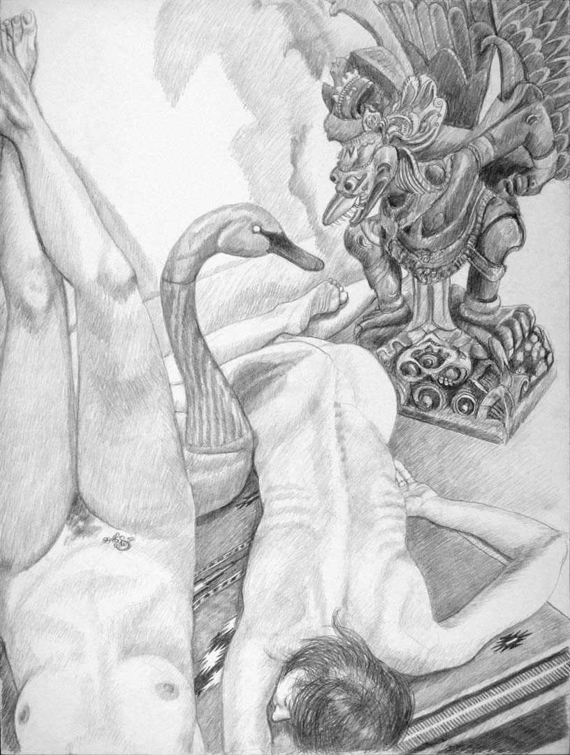 2013 Two Models with Swan Decoy and Carved Garuda Figure Pencil 40 x 30