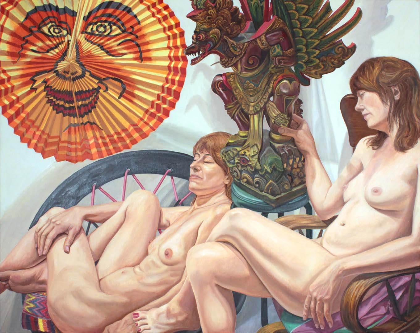 2014 Models with Lantern and Garuda Figure Oil on Canvas 48 x 60