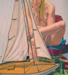 2014 Model with Pond Boat Oil on Canvas 40 x 36