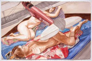 2014 Study for Two Models with Model Biplane Watercolor on Paper 25.75 x 40