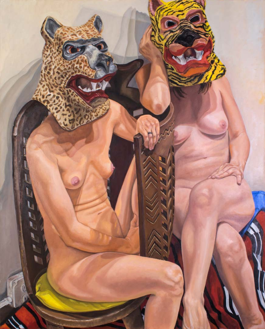 2015 Two Models in Masks with African Chair Oil on Canvas 60 x 48