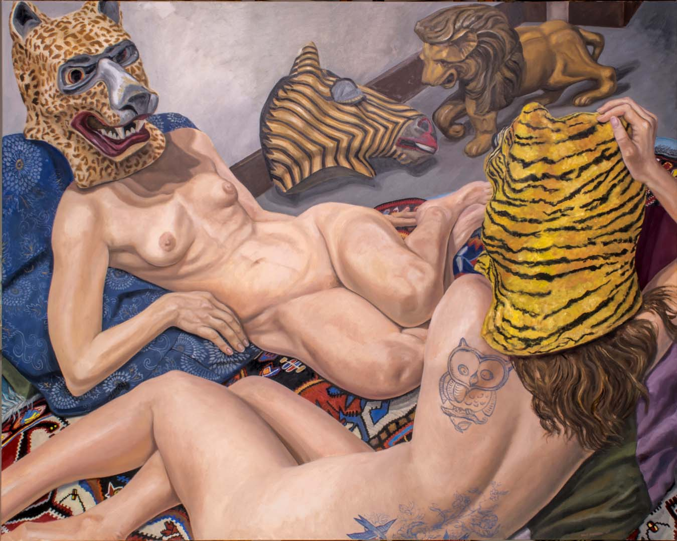 2015 Two models with Three Masks and Carousel Lion Oil on Canvas 48 x 60