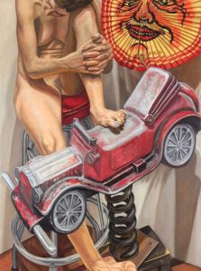 2016 Model with Auto Spring Rider and Paper Lantern Oil on Canvas 48 x 36