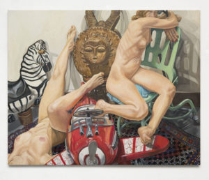 Two Models, Kiddie Car, Airplane, Zebra and African Mask, Oil on Canvas, 48x60