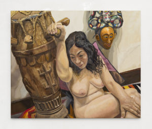 Model with African Drum and Mask, Oil on Canvas, 28x34
