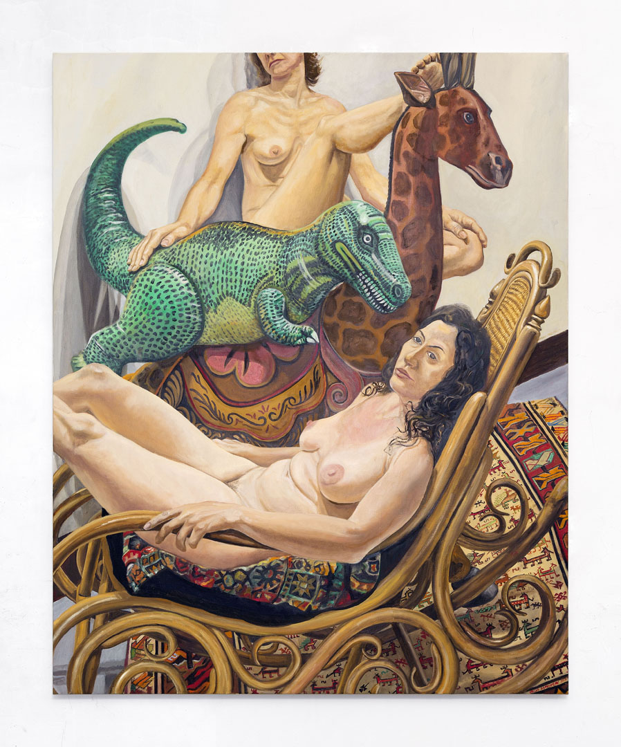 Two Models with Giraffe, Dinosaur and Bent-Wood Rocker, Oil on Canvas, 60x48