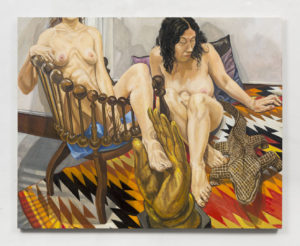 Two Models, Hunzinger Chair and Wooden Crocodile, Oil on Canvas, 48x60