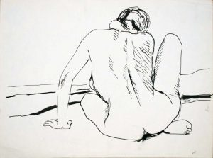 Back of Female Nude with Right Leg Raised Ink 9 x 12