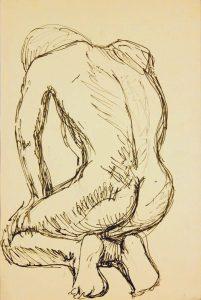 Back of Kneeling Model Ink 17.875 x 12