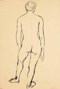Back of Standing Female Model Ink 17.875 x 12