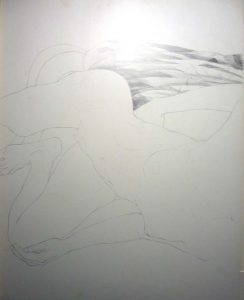 Crouched Female Nude Leaning Forward Pencil 22.5 x 28.5