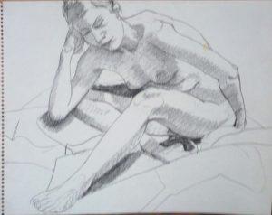 Female Nude Leaning Forward Pencil 14 x 11