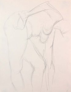 Female Model Bending Over with Arm Outstretched Pencil 12 x 9