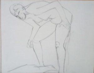 Female Model Bent Forward Pencil 11 x 14
