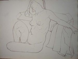 Female Model Head Resting on Arm Sepia 22.25 x 29.75
