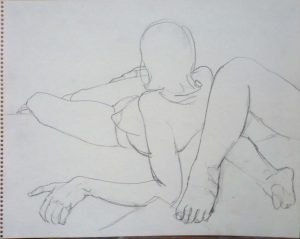Female Model Leaning Back and Legs of Model Pencil 11 x 14