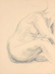 Female Model Leaning Forward Graphite 24 x 17.875