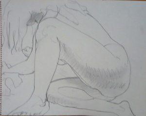 Female Model Leaning Forward Pencil 11 x 14