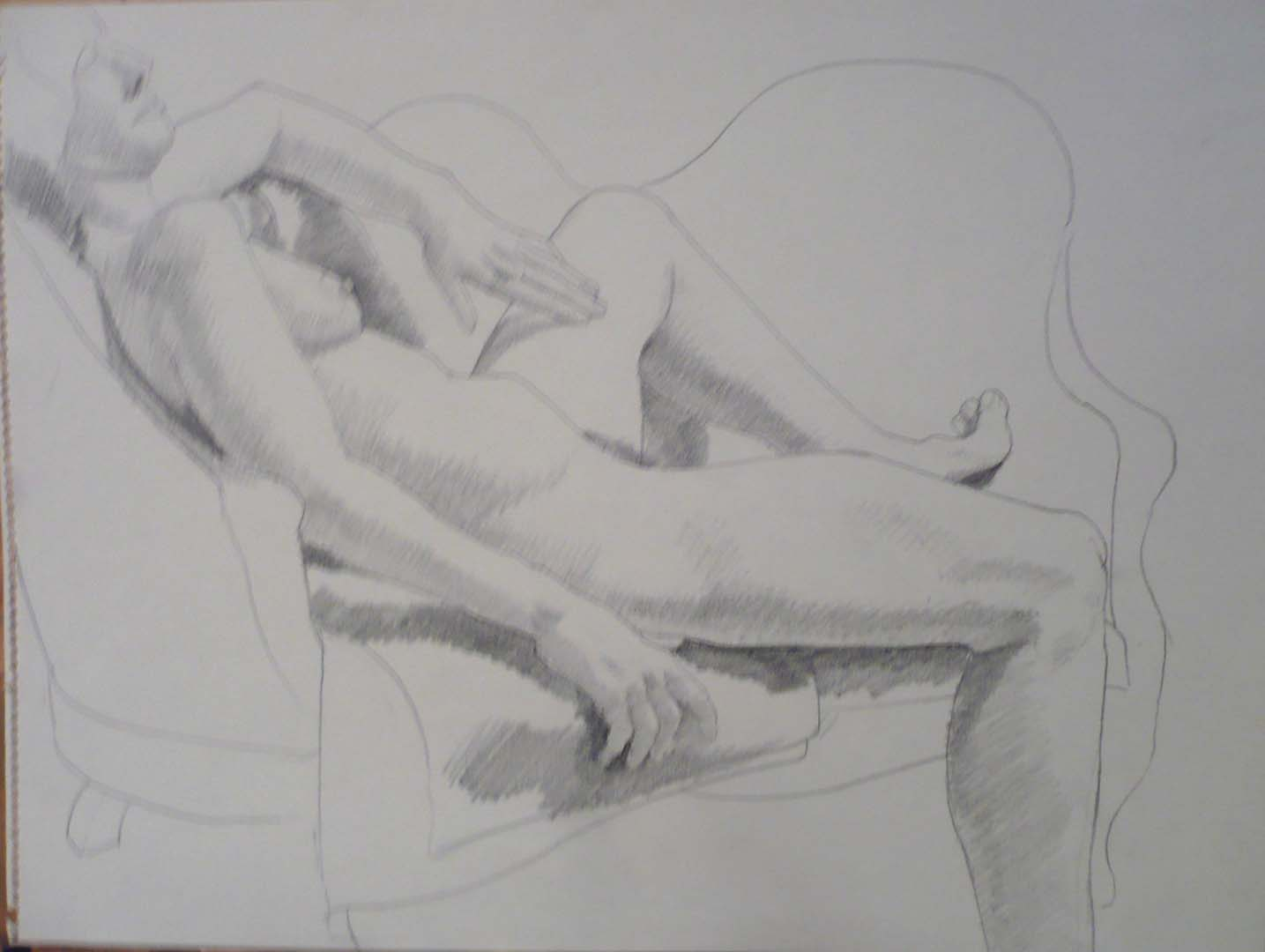 Female Model Reclining on Sofa Pencil 17.875 x 23.625