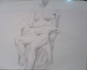 Female Model Seated in Chair Pencil 23 x 29