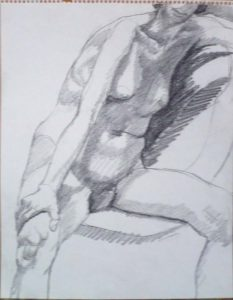 Female Model Seated on Basket Chair Pencil 14 x 11