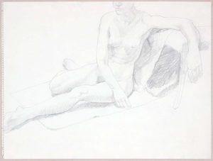 Female Model Seated on Floor Graphite 17.875 x 23.875
